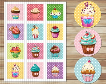 2 Inch Circle Sweet Cupcake Digital 2 Inch Circle Cupcake Topper Party Tags Party Supplies Party DIY Cupcake Two Inch Circle 0015