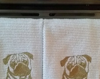 Pug Kitchen Towel set of 2