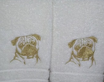 Pug Bathroom Hand Towel
