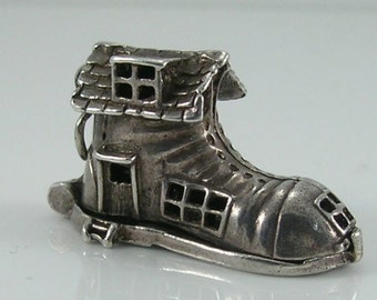 Vintage 3D Sterling Silver CHIM Old Woman In Shoe Charm.Opens