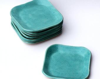 square stoneware plate ~ handmade ceramic dish ~ light, bright, speckled blue glaze
