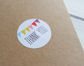 24 Thank You Stickers Rainbow Bunting Birthday Wedding Envelope Seals Labels 40mm / 208