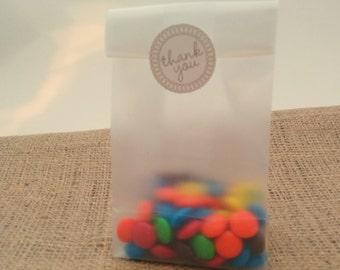 Treat Bag Candy Buffet Translucent Plastic Party Favor Bag set of 100