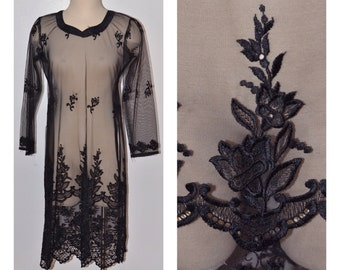 Vintage Estate Black Sheer Embroidered Lace Dress