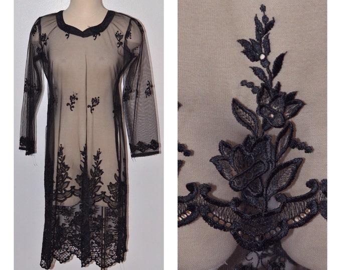 Vintage Estate Black Sheer Embroidered Lace Dress