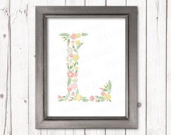 Floral letter L monogram flower pastel initial kids monogrammed print art nursery decor printable wall art instant download