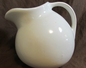 Pitcher, Milk, Juice, Water, Large White Round, 1970's