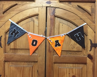 Personalized Flag Banner, Bunting, Pennant, for any room. Specify sport, team colors or room decor!