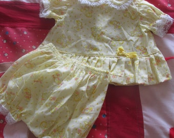Vintage 1980's Handmade Newborn Baby Girl Summer Rabbits and Chicks  Ruffled Top and Pantaloons Set