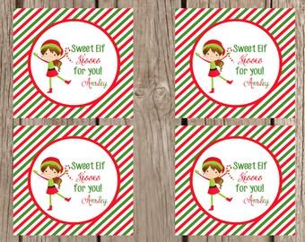 Christmas party favor tags printabl es elf kisses