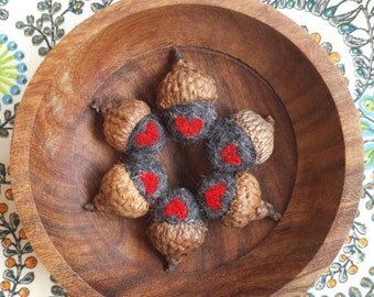 Needle felted woodland acorns- cozy dark gray with red heart  {Valentines Day,HOME DECOR}