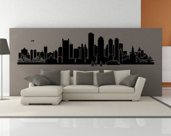 PREMIUM Boston Massachusetts City Skyline Interior Wall Decal WITHOUT Lettering