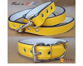 """Yellow Dog Collars - Yellow Leather Dog Collar and Yellow Leather Dog Leash - Extra Large Leather Collars and Leashes for Big Dogs 1.5"""" wide"""