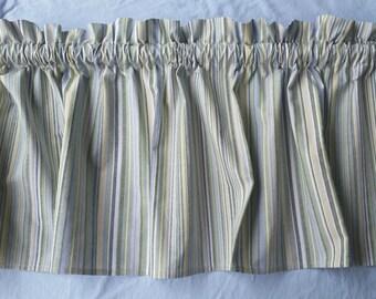 Green Striped Kitchen Valance Curtain