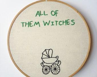 Rosemary's Baby Creepy Kid Embroidery Art