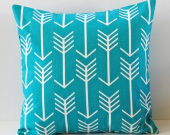 Medium Blue Pillow Cover- Medium Blue with White Arrows Decorative Couch Pillow 16x16- Ready to Ship