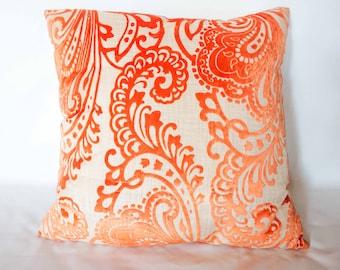 "21""x21"" Orange Casanova Print Decorative Pillow"
