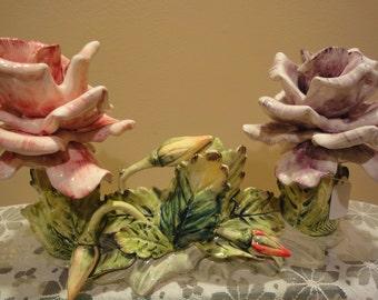 Original Arnart Collectible Rose Porcelain Candle Holder/Made in Japan/Fine Bone China