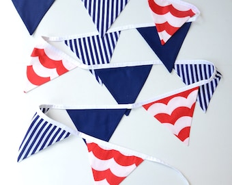 Nautical baby, Navy and red nursery, fabric bunting, boys room decor, nautical decor, first birthday party, photography prop, stripes, waves