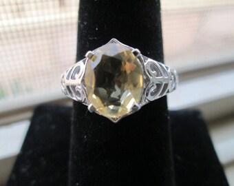 Estate Designer 925 Sterling Silver 2.12ct  Citrine Gemstone Solitaire Filigree Ring, Weight is  4.6 Grams Sz 7.75