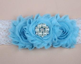 blue lace flower girl headband baby toddler headband birthday headband lace headband Infant headband baby blue headband birthday