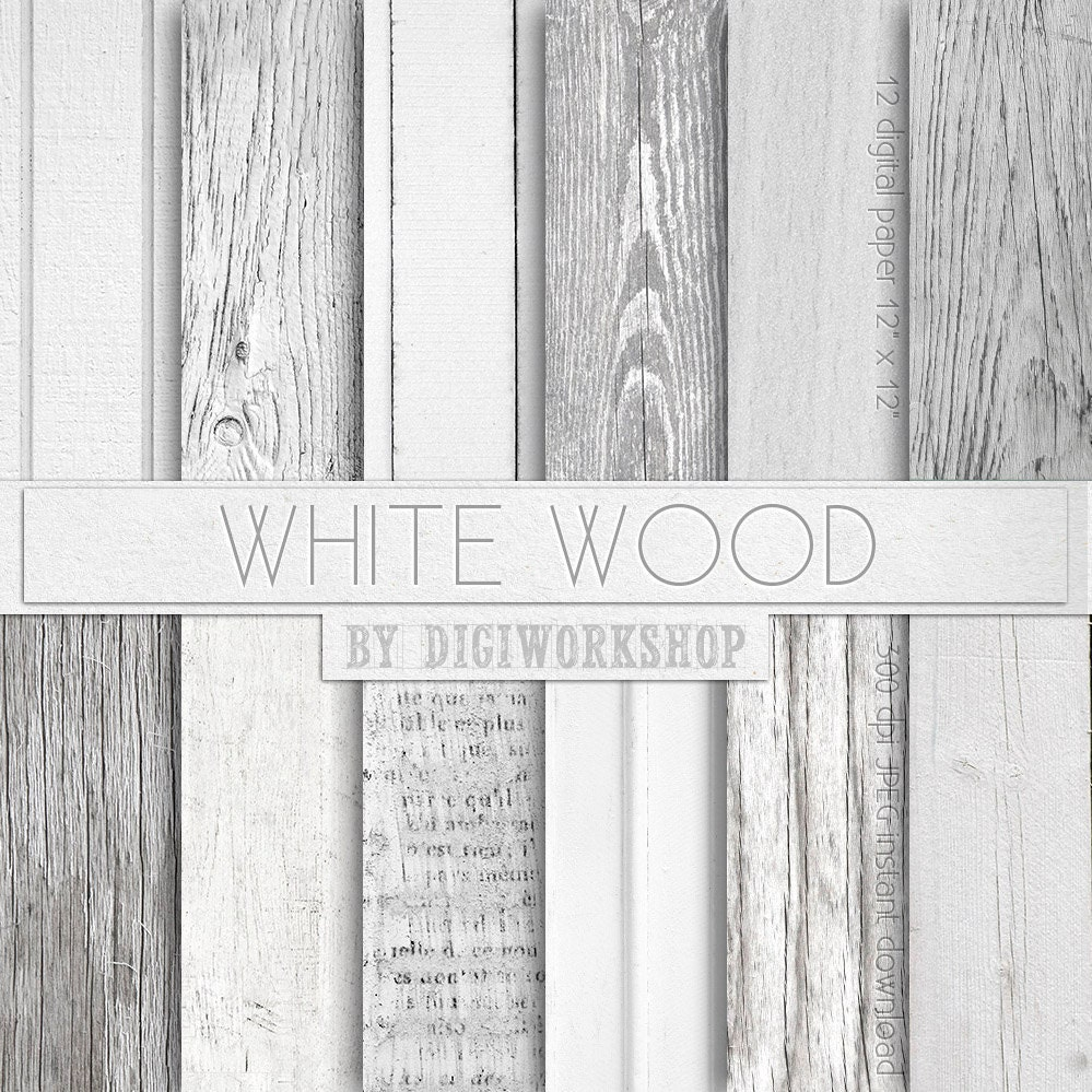 Wood Digital Paper White Wood with digital wood by DigiWorkshop