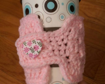 Coffee Cozy - Cup Cozy - Coffee Collar - Coffee Cup Holder - Crochet Cozy - Pink and White- Valentine Coffee Cozy - Ready to Ship -  #72