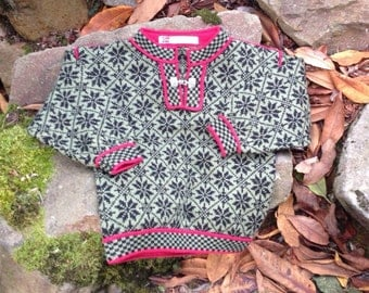Vigdis children's sweater, made in Norway -size 3/4
