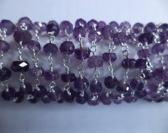 10 feet Genuine Amethyst Wire Wrapped Beaded linked chain  silver plated Vermeil Purple