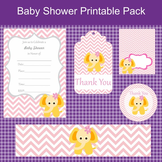 Pink chevron elephant baby shower printable party by for Baby shower decoration packs