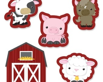 24 pc. Small Farm Animals Shaped Paper Cut Outs - Baby Shower or Birthday Party Die Cut Decoration Kit