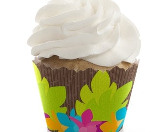 Luau Cupcake Wrappers - Baby Shower, Birthday Party, or Bridal Shower Party Cupcake Decorations - Set of 12