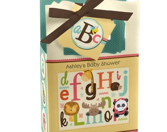 12 Alphabet Favor Boxes - Custom Baby Shower and Birthday Party Supplies