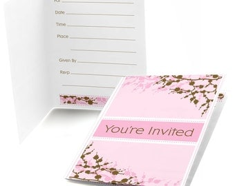 Cherry Blossom - Fill In Invitations - Baby Shower Invitations - Birthday Invites - Bridal Shower - Set of 8 Folding Note Cards w/Envelopes