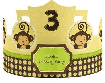 8 Custom Monkey Party Hats - Birthday Party Hats - Party Supplies - Monkey 1st Birthday Party - 8 Count