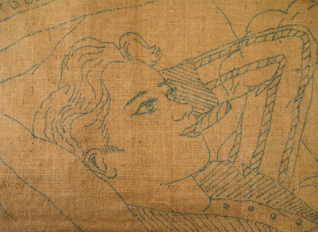 French embroidery pattern large dandy vintage burlap