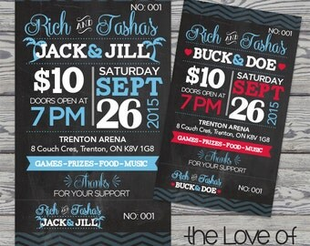 Printed Raffle Buck and Doe Tickets -Jack and Jill Tickets - Stag and Doe Tickets - Rustic Chalkboard