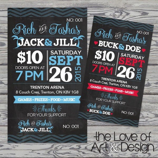 Printed raffle buck and doe tickets jack and jill tickets for Jack and jill ticket templates