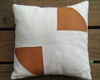 Two Arrows Cushion Cover / vintage tan leather / feature cushion