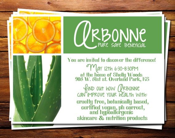 Arbonne DIY Pure Safe Beneficial Invitation 5x7 digital file – Arbonne Party Invitations
