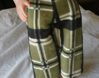 "Fleece Plaid Pajama Pant, Elastic Waist, American Girl, 18"" Doll OOAK"