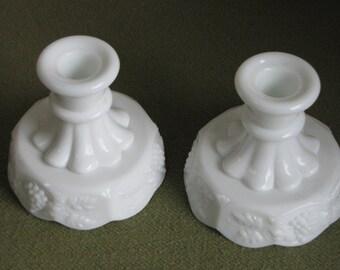 Vintage Westmoreland Milk Glass Candle Stick Holders Paneled Grapes Pattern