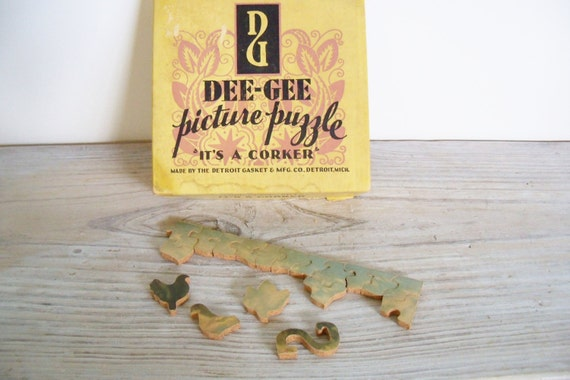 Vintage Dee-Gee Jigsaw Picture Puzzle It's A Corker Interlocking Jig Puzzle Fording Green River Detroit Gasket 1940s