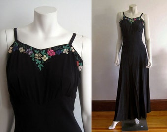 1940s Gown / 40s Black Silk Evening Gown / Celluloid Sequins / SMALL