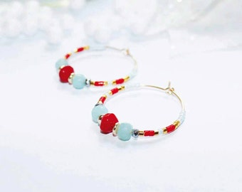 Gold plated earrings with amazonite, sea bambou and hematite