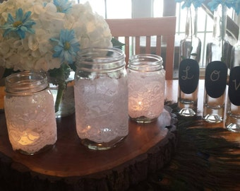 White Lace Mason Jar Covers/Sleeves