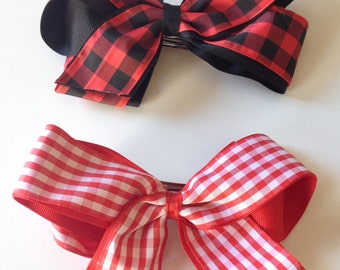 Plaid Medium Double Bow