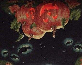 Fabric by the 1/4 Yard - Halloween Pumpkins in the Moonlight Cotton