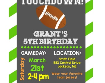 Personalized Football Birthday Party PRINTABLE Invitation