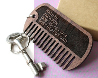 Dog tag beard comb - personalised beard gift - Mustache Comb - Beard grooming - dog tag Keychain - Hipster gift - gift for men-Grooming gift